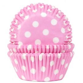 House of Marie rožiniai (polkadot baby pink) keksiukų popierėliai - 50vnt.