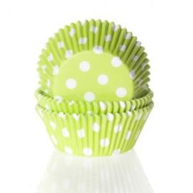 House of Marie žali (polkadot lime green) keksiukų popierėliai - 50vnt.