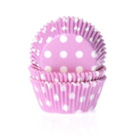 House of Marie rožiniai (polkadot pink) keksiukų popierėliai - 50vnt.