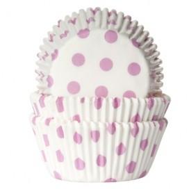House of Marie balti/ rožiniai (polkadot white/ baby pink) keksiukų popierėliai - 50vnt.