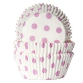 House of Marie polkadot white/ baby pink baking cups - 50pcs.