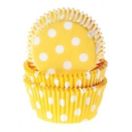 House of Marie geltoni (polkadot yellow) keksiukų popierėliai - 50vnt.
