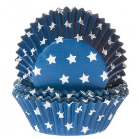 House of Marie blue baking cups with stars - 50pcs.