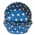 House of Marie mėlyni keksiukų popierėliai su žvaigždutėm - 50vnt.