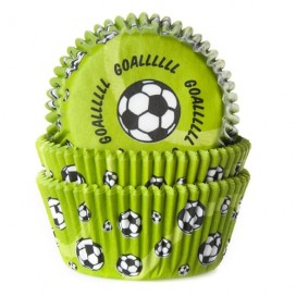 House of Marie green baking cups with soccer ball - 50pcs.