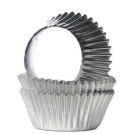House of Marie foil silver mini baking cups with - 36pcs.