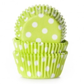 House of Marie polkadot lime green mini baking cups with - 60pcs.