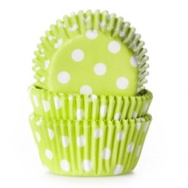 House of Marie žali (polkadot lime green) keksiukų popierėliai - 60vnt.