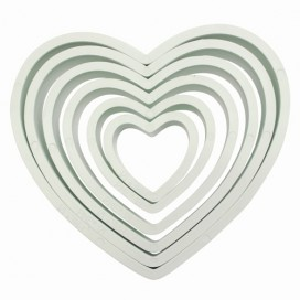 PME Plastic Cutter Heart Set/6