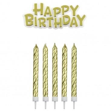 """PME mėlynos žvakutės ir užrašas """"Happy Birthday"""" - 17vnt."""