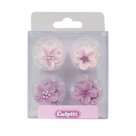 Culpitt Sugar Decorations Flowers Pink pk/12