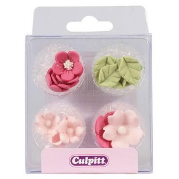 Culpitt cukrinės dekoracijos - purpurinės gėlytės ir lapeliai, 16 vnt.