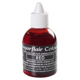 Sugarflair raudoni (red) dažai purškimo aparatui - 60ml.